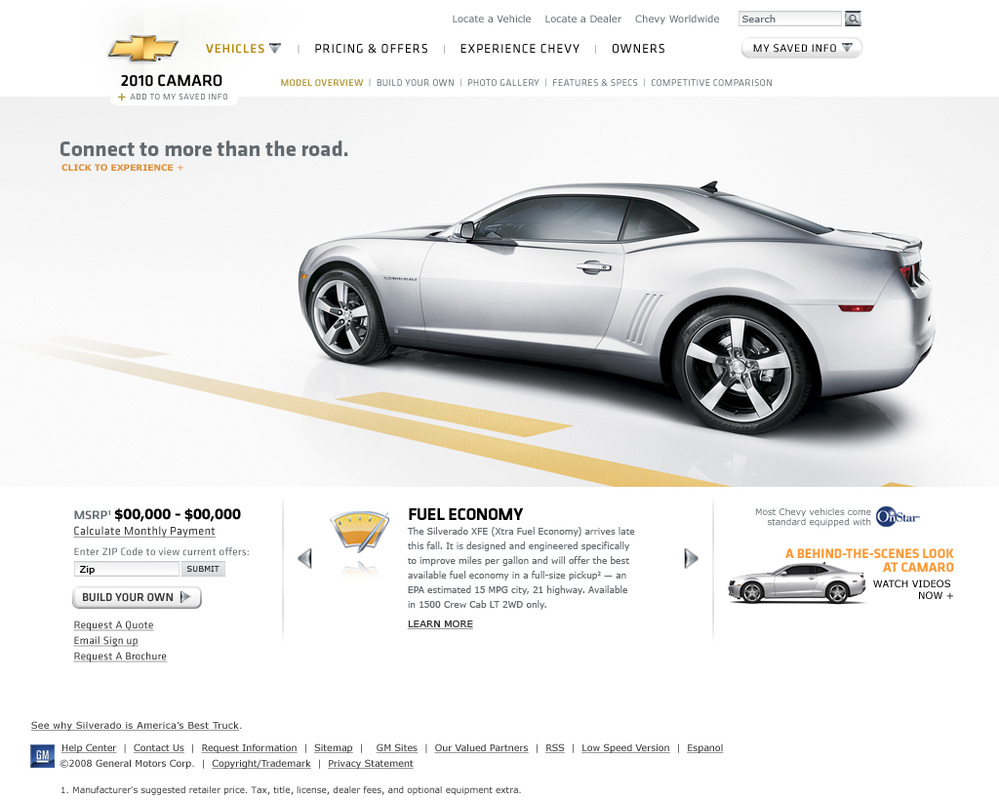 Chevy.com (Prior Layout)